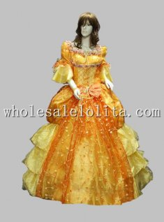 New Yellow Sissi Princess Period Dress European Court Ball Gown Stage Costume