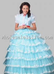 Beautiful Pure White/Sky Blue Organza Princess Layered Dress Wedding Dress Prom Dress