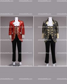 High-end Customized Mens Red/Black British Palace Suit Prince Blazer Suits Medieval Mens Cosplay Costume