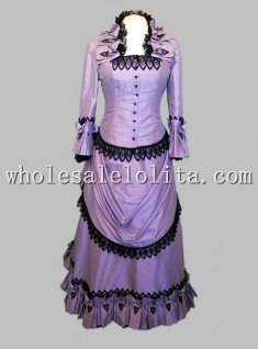 Retro Purple Black Lace Victorian Bustle Period Dress Reenactment Clothing Stage Wear