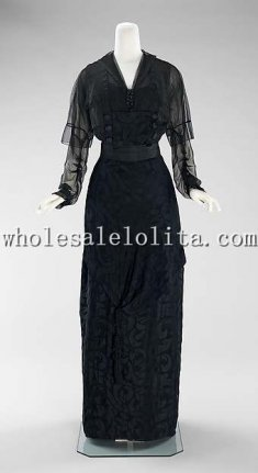 Custom Made Late 1910s American Silk Black Evening Dress
