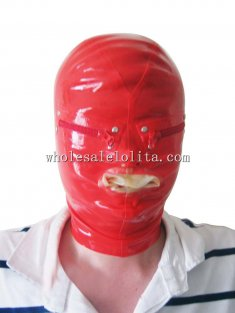 Latex Costume Red Latex Hood with Eyes Zipper Mouth Sheath