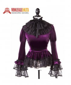 Gothic Victorian Purple Velvet Blouse Top Steampunk Wtich Vampire Theater Costume