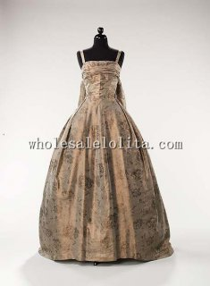 Custom Made Late 1950s British Printing Synthetic Evening Dress