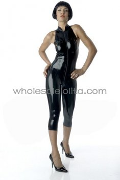 Black Front Zipper Sexy Back Latex Catsuit