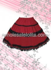 Red Lace Cotton Lolita Skirt