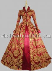 Victorian Tudor Jacquard Brocade Period Dress Ball Gown Reenactment Theatre Clothing PUNK