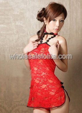 Chinese Sexy Red Lace Qipao Dress
