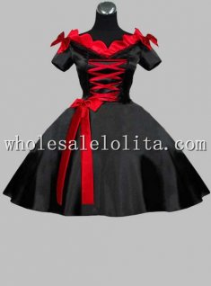 New Black and Red Silk-like Gothic Maid Dress Stage Costume