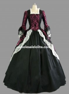 18th Century Purplish Red Brocade and Black Cotton Marie Antoinette Period Dress Ball Gown