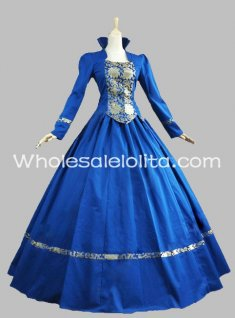 Royal Blue Cotton & Brocade Gothic Victorian Gown Historical Dress