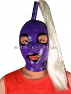 Purple Latex Rubber Costume Hood Mask with Pony Tail