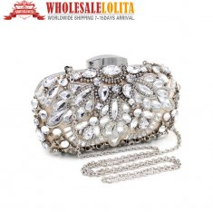 Silver Crystal Diamond Evening bag Dress Handbag