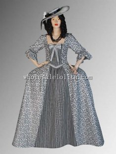 Custom Made Black White Renaissance Baroque Dress Monique Medieval Gown in Brocade Handmade Custome