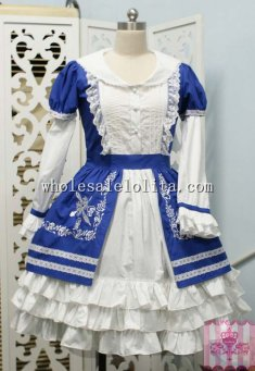 Sweet Blue and White Rose Embroidery OP Lolita Dress