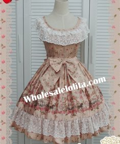 Scoop Neck Champagne Emulation Silk-satin Printing Sweet Lolita Dress