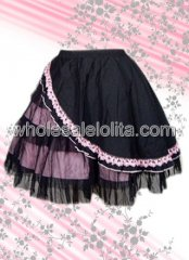 Black And Pink Cotton Lolita Skirt