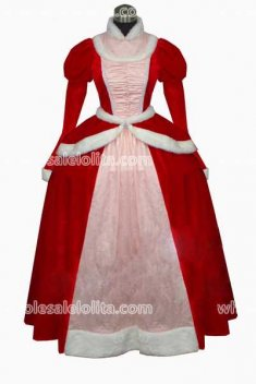 Red Velvet Gothic Period Dress Masquerade Ball Gown Reenactment Theatre Princess Costume