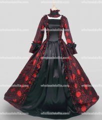 18th Century Period Dress Gothic Black and Red Marie Antoinette Victorian Dress Reenactment Theater Clothing
