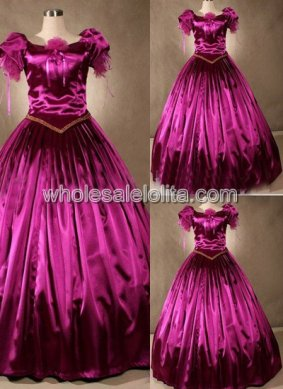 Fuchsia Satin Short Sleeve Southern Belle Ball Gown Prom Dress Wedding Theatre Clothing