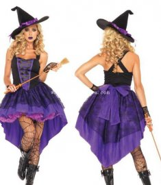 Gothic Black Purple Sexy Witch Halloween Costume Masquerade Dress