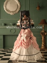 Victorian Style Pink Long Lolita Dress Black Butler Kuroshitsuji Ciel Cosplay Costume