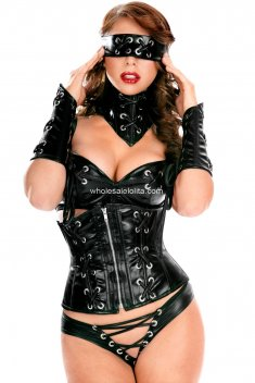 Hot Sale Black PU Leather Suit