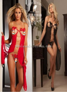 Red Charm Cupless Strappy Flyaway Long Chemise and Thong