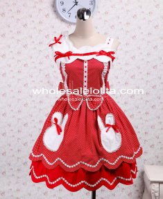 Cotton Sleeveless Bow Red With White Dot Sweet Lolita Dress