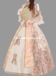 Historical Royal Court Floral Marie Antoinette Period Dress Theatre Clothing N4