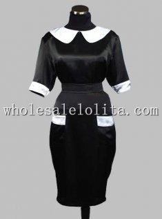 Gothic Black and White Half Sleeves Slim Fit Victorian Inspired Dress