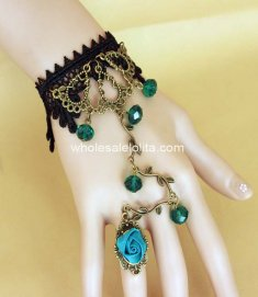 Retro Bronze Flower Rattan Blue Crystal Black Lace Lolita Bracelet & Ring