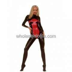 Women's Gothic Black and Red Latex Catsuit with Feet Encased