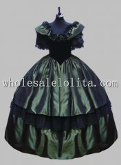 Deluxe Gothic Dark Green Victorian Ball Gown Venice Carnival Costume