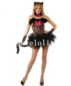 Wild Leopard Print Seduce Catwomen Halloween Costume Dress