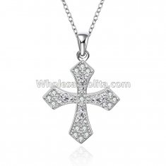 Fashionable Platinum Necklace with Cross Leaves Pendant for Versatile Occasions