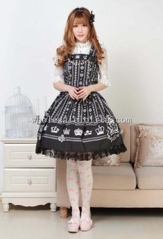 Gothic Black Crown Print Lolita Dress One Piece