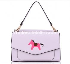 Sweet Light Purple Little Horse Printing Lolita Bag Girls Totes Bag