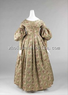 1837-39 Early Victorian Era Silk Afternoon Dress