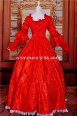 Red Print Gothic Victorian Brocade Dress Ball Gown Steampunk Dress Cosplay Costum