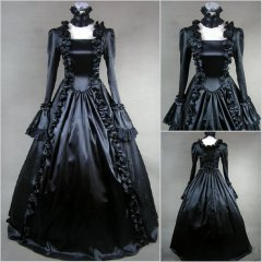 Hot Sale Gothic Black Victorian Period Dress Halloween