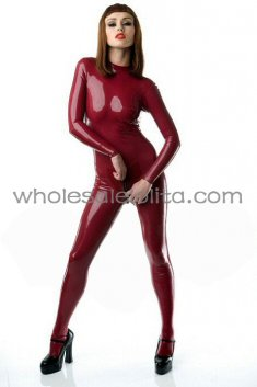 Wine Red Female Back Zipper Rubber Latex Catsuit