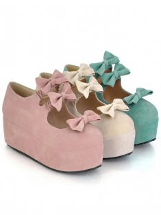 Sweet Pink Bow PU 5cm Platform Lolita Princess Shoes