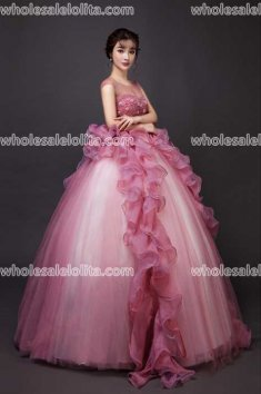 Fashion Crystal Yarn Stage Performance Costumes Long Ball Gown