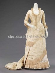1880s French Silk Full-blown Bustle Victorian Evening Dress