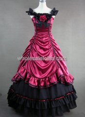 Victorian Burgundy and Black Southern Belle Ball Gown Prom Dress Reenactment Clothing