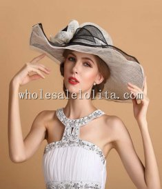 Royal British Beige & Black Big Brim Kentucky Derby Hat Prom Hat