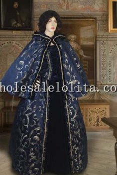 Handmade Brocade Renaissance Costume Short Cape Cloak