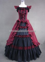 Victorian Black and Red Gothic Lolita Cotton Dress Ball Gown Prom Reenactment