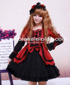 Cute Lace Up Dark Red And Black Cotton Gothic Lolita Dress